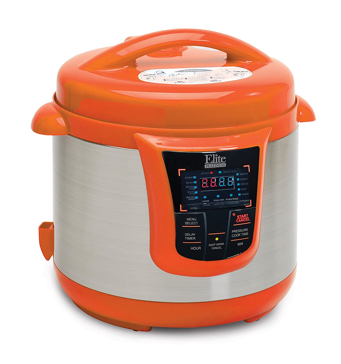 Fagor duo 8 quart pressure cooker - Amazon Com Elite Platinum Epc 808or Maxi Matic 8 Quart Electric Pressure Cooker Orange Stainless Steel Kitchen Dining