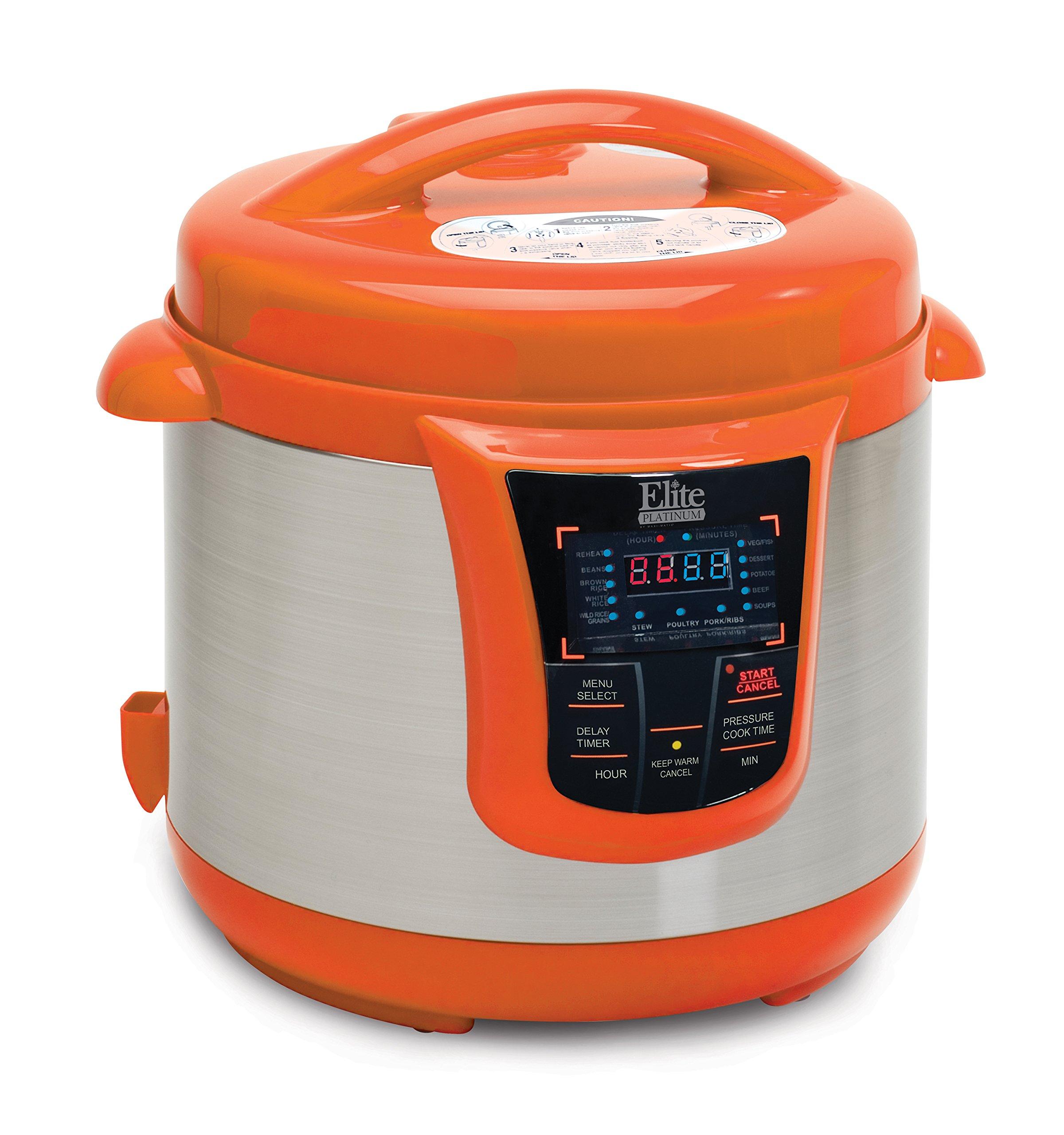Elite Platinum 8 Quart 14-in-1 Multi-Use Programmable Pressure Cooker, Slow Cooker, Rice Cooker, Sauté, and Warmer - Orange