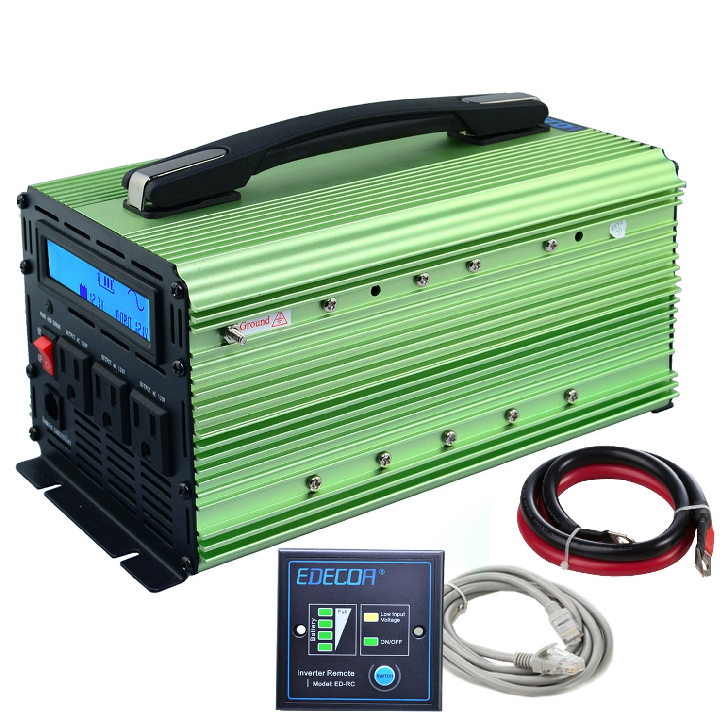 EDECOA 1500W Power Inverter Pure Sine Wave DC 12V to 120V AC with LCD Display and Remote