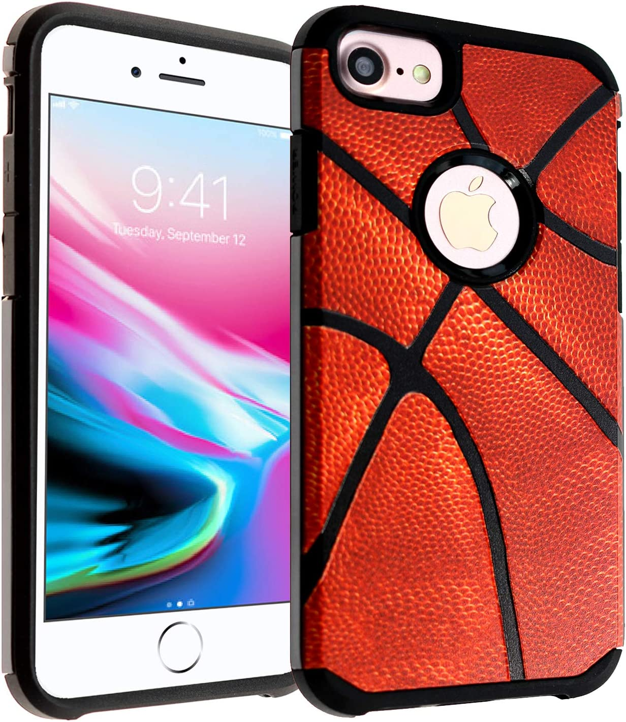 "iPhone 6s Case, IMAGITOUCH 2-Piece Style Armor Case with Flexible Shock Absorption Case and Vintage Basketball Cover for 4.7"" iPhone 6 / 6s – Vintage Basketball Hybrid"