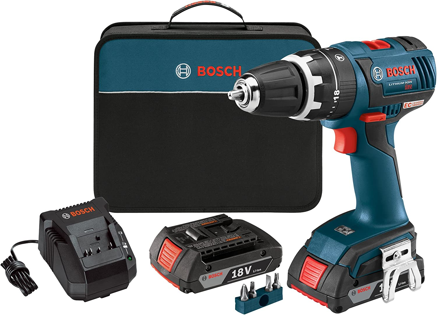 Bosch PS22-02 12-volt Max Brushless Pocket Driver Kit with 2.0Ah Batteries Charger and Case