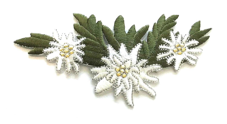Aufnäher Applikation Blumen Bayer Bügelbild Blume Edelweiß 6,2 cm * 5,5 cm