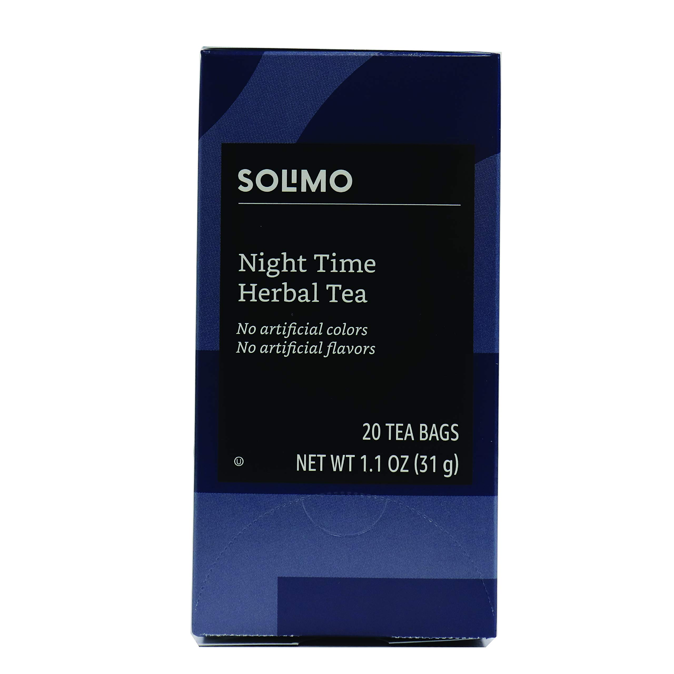Amazon Brand - Solimo Night Time Herbal Tea Bags, 20 Count