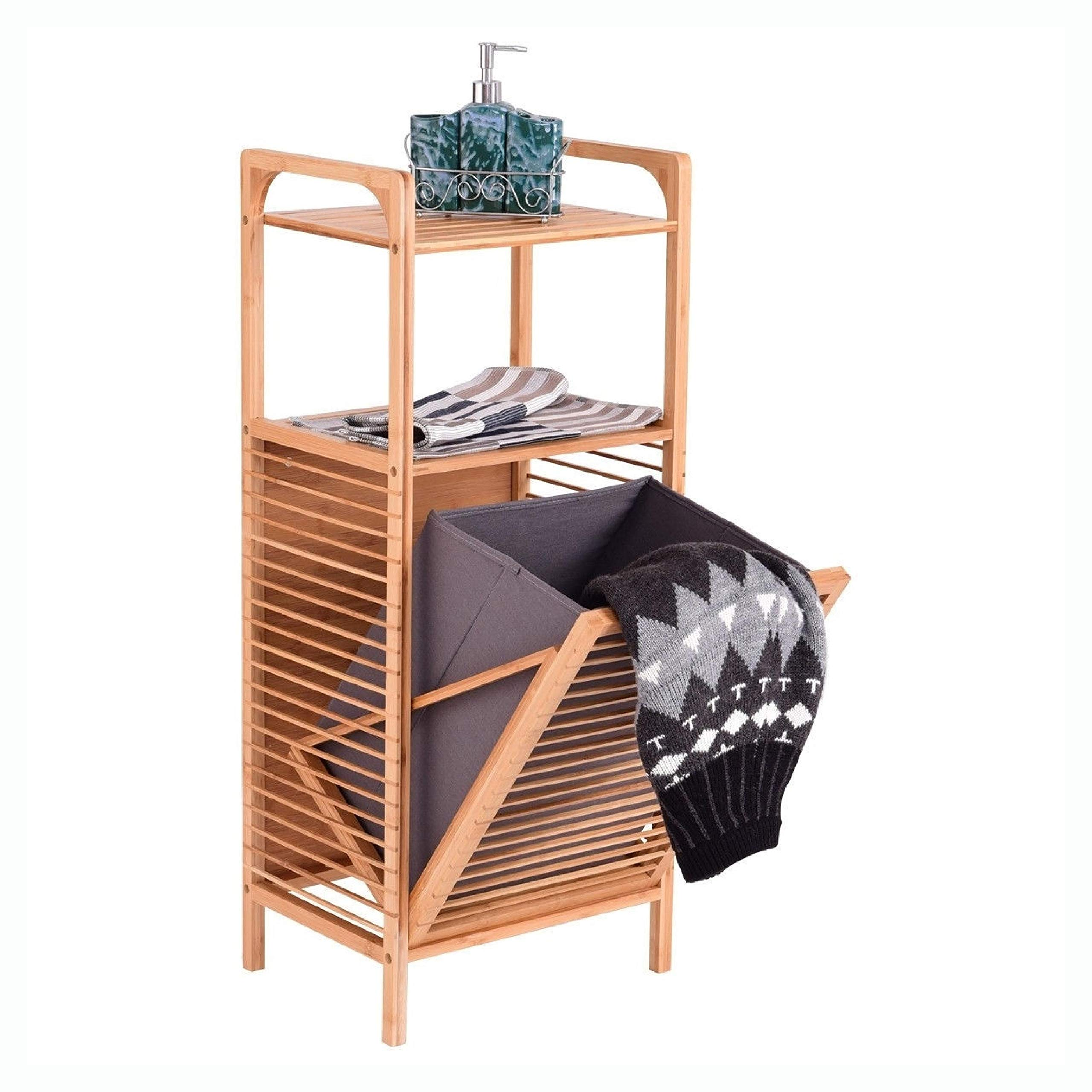 Laundry Hamper, Bamboo 2-in-1 Laundry Hamper Side Table with 2 Shelves and Clothes Basket