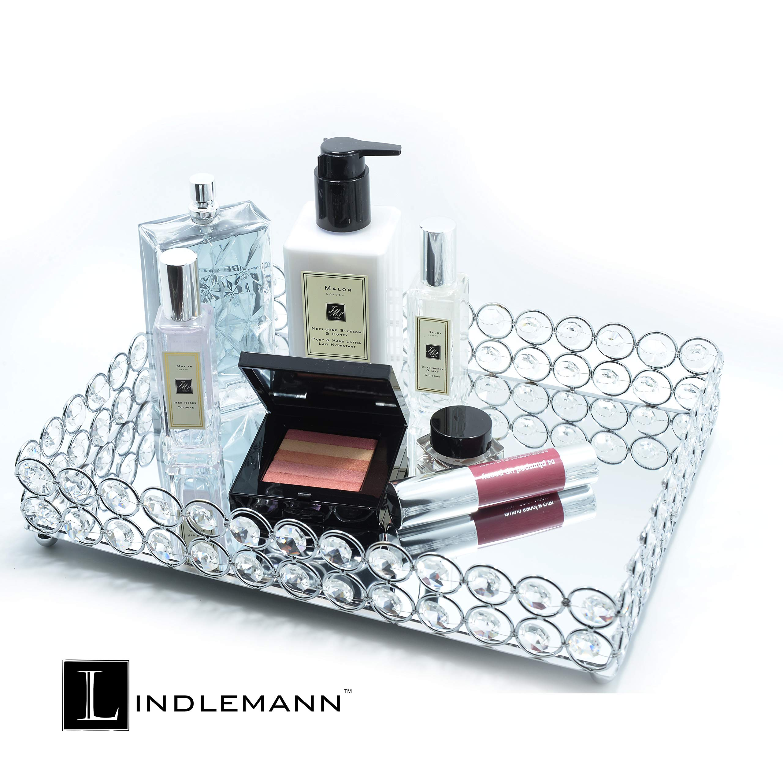 Lindlemann Mirrored Crystal Vanity Tray - Ornate Decorative Tray for Perfume, Jewelry and Makeup (Rectangle 12 x 9 inches, Silver) by Lindlemann (Image #5)