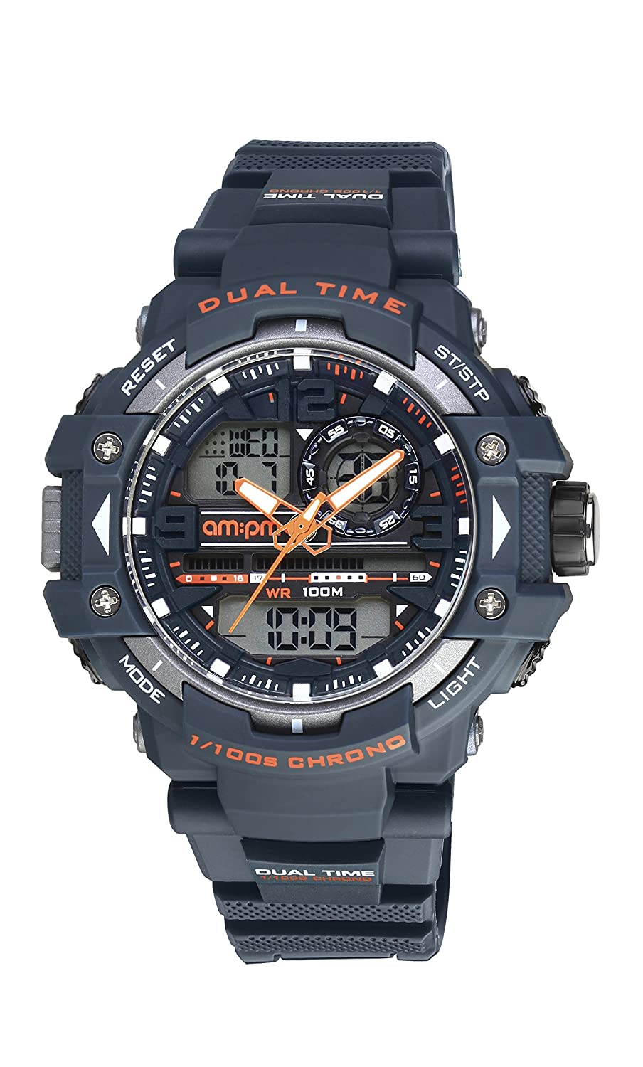 Amazon.com: AM:PM PC165-G401 Mens Digital/Analog Navy Blue Sports Watch Orange Accents: AM:PM: Watches