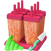 Set of 6 Reusable Popsicle Molds Ice Pop Molds Maker by Ozera, With Silicone Funnel & Cleaning Brush, Pink