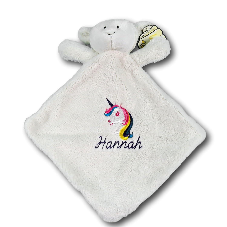 The T Bird Newborn Baby Embroidered Comforter Unicorn Design Name Comforter Personalised newborn baby present teddy bear blanket cream lamb