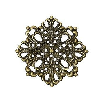 antik bronze Floral 10 filigrane Deko-Ornamente Verzierungen Größe wählbar