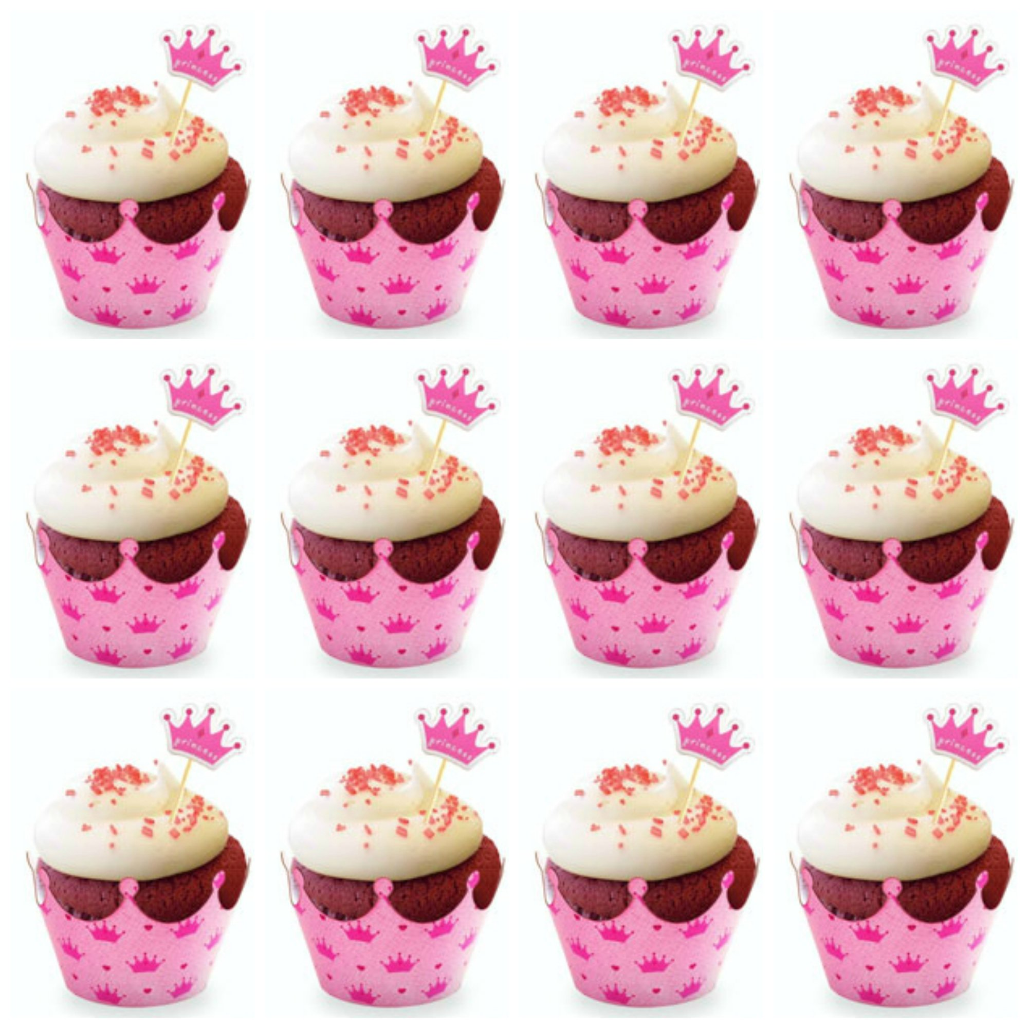 Cupcake Toppers and Wrappers for Girl Birthday – Crown Tiara Princess Party Cupcake Wrappers With Picks - Cupcake Kit – Cute Girl Party Supplies, Pink - NO Assembly Required – Set of 30 (Princess) by Craft And Party (Image #2)