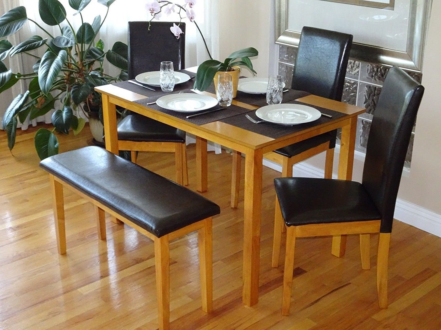 Rattan Wicker Furniture Dining Kitchen Solid Wooden Bench Stained Padded Seat Classic Design in Maple Finish by Rattan Wicker Furniture (Image #5)