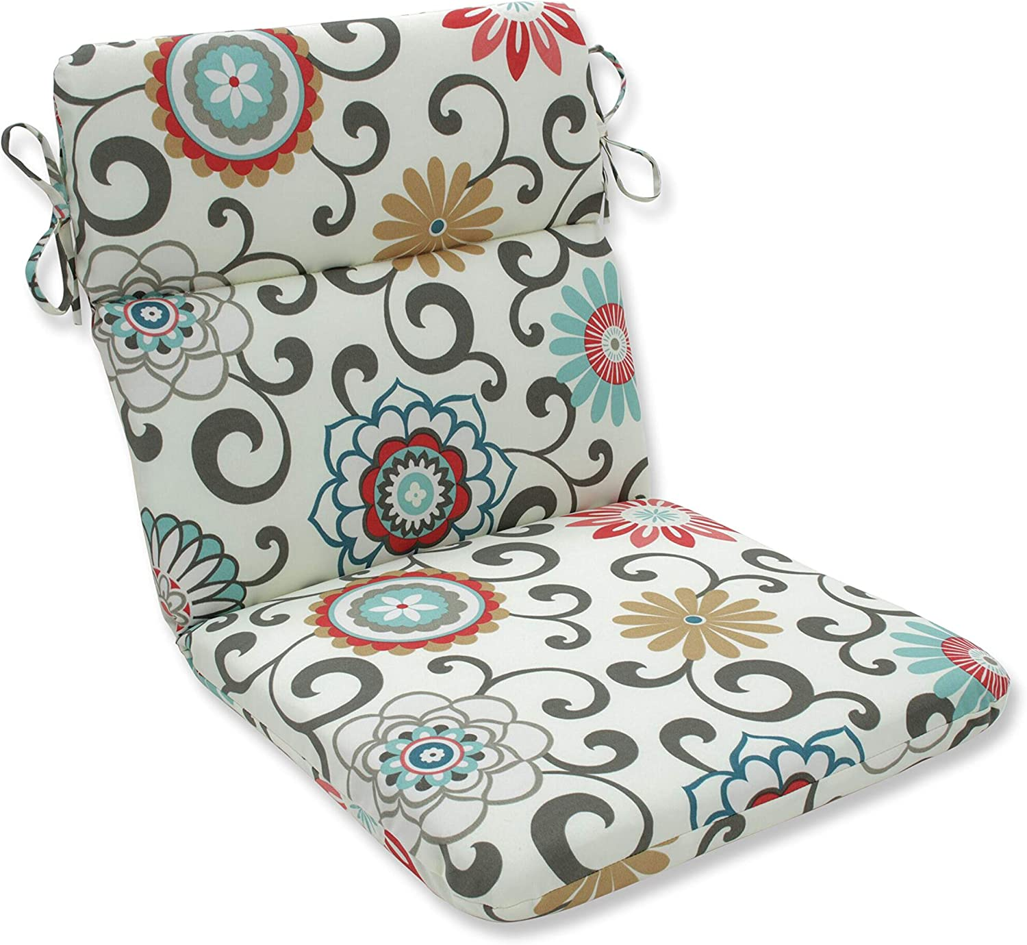 Pillow Perfect Outdoor Pom Pom Play Peachtini Rounded Corners Chair Cushion