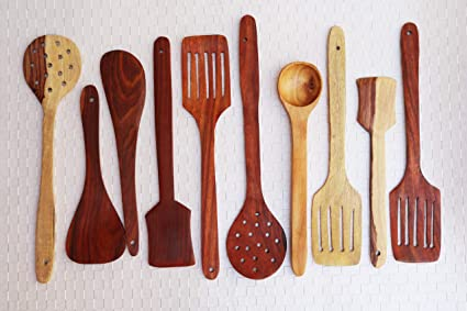 Superb Kundi Handmade Wooden Non Stick Serving And Cooking Spoon Kitchen Tools Utensil Set Of 10 Download Free Architecture Designs Grimeyleaguecom