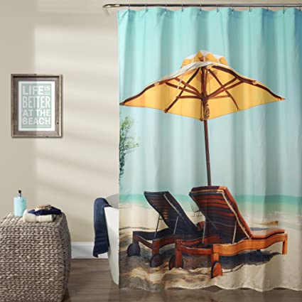 Image Unavailable Not Available For Color Lush Decor 16T000928 Beach Chair Shower Curtain