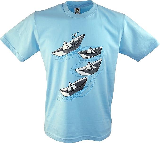 Guru-Shop, Camiseta de la Diversión `Faltboot`, Azul, Algodón,