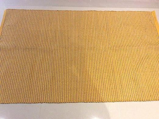 Cotton-trader Alfombra de Yute y algodón Natural a Rayas Amarillas ...