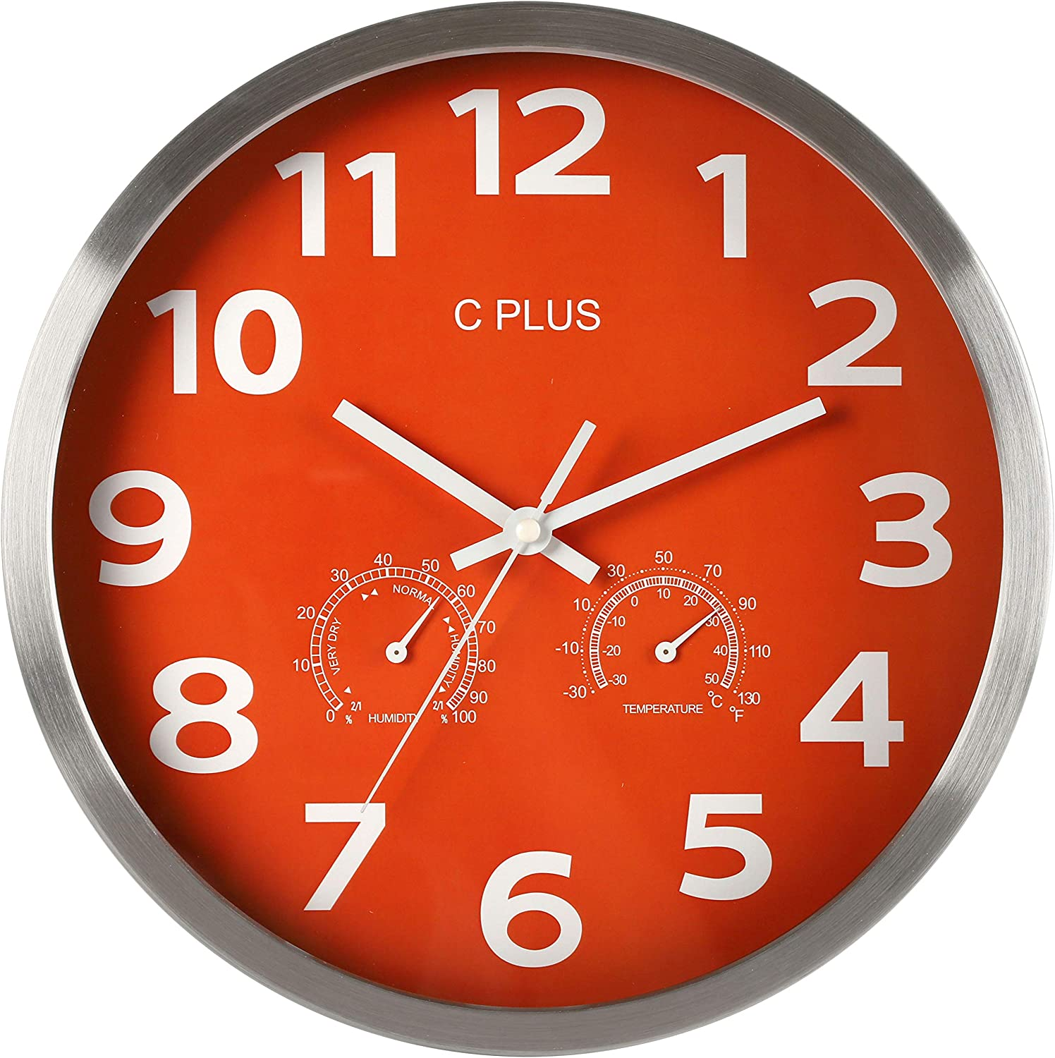 C PLUS Wall Clock Non-Ticking Silent Battery Operated 12 Inch Quiet Sweep Quartz Movement, Modern Home Decorations with Temperature and Humidity Large Numbers Easy to Read Round Indoor Light, Orange