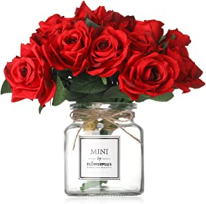 MISBEST Artificial Red Rose Flowers with Vase,Fake Silk Red Bouquet with Glass Jar Home Rope for Wedding Proposal Bride Home Decoration and The Best Gift