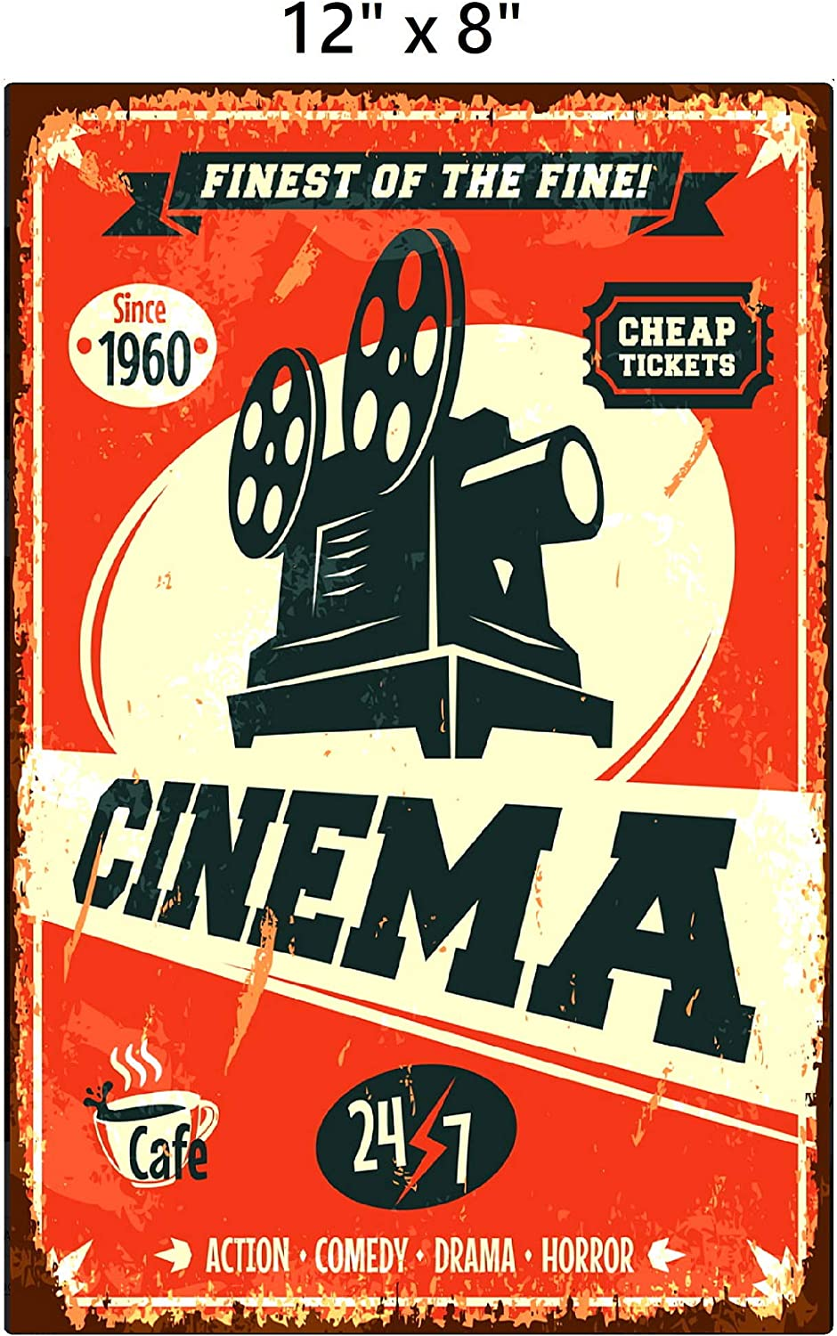 UNiQ Designs CINEMA Media Room Decor Tin Signs Theater Sign - Movie Room Decor Accessories - Film Decor - Cinema Decor - Home Movie Theater Decor - Movie Reel Wall Decor - Vintage Movie Decor 12x8