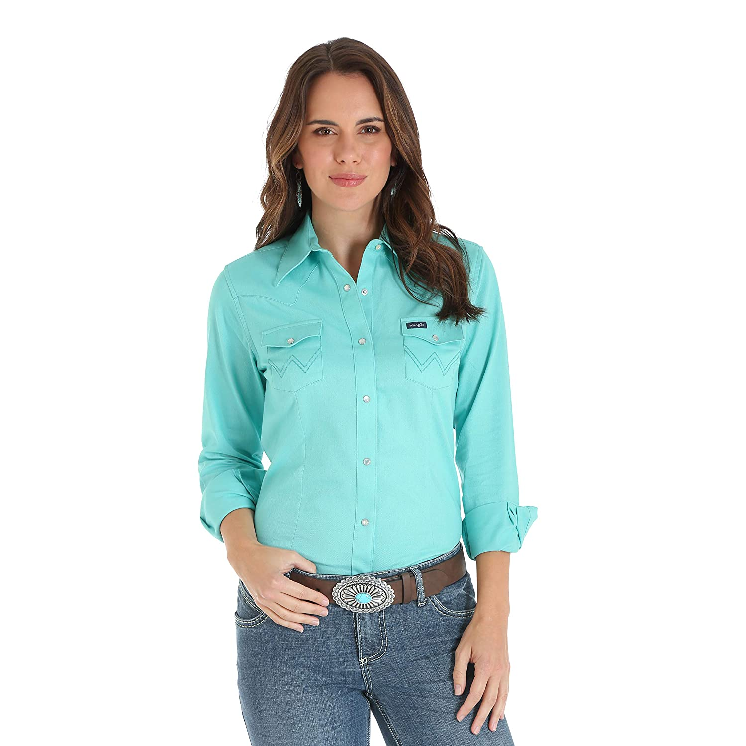 Turquoise Wrangler Womens Long Sleeve Western Snap Work Shirt Blouse