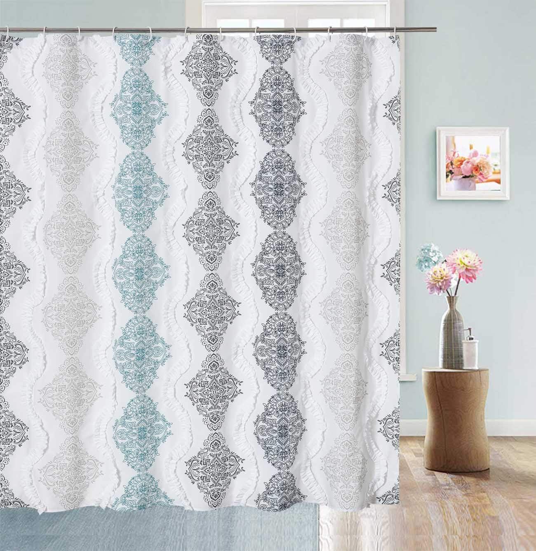White Ruffle Shower Curtain Bohemian Damask Pattern Modern Cute Waterproof Fabric 72x84 Navy Aqua Gray And Taupe Kitchen Dining