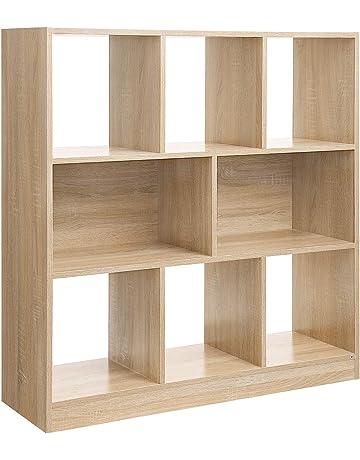 VASAGLE Librería de Madera con Cubos y estantes Abiertos, Estantería para Libros Independiente, para