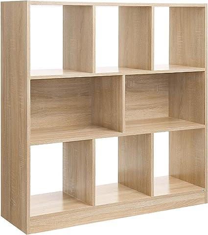 VASAGLE Librería de Madera con Cubos y Estantes, Estantería para Libros, para Sala de Estar, Dormitorio, Habitación de niños y Oficina, 97,5 x 30 x ...