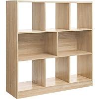 VASAGLE Bücherregal, Raumteiler Regal, Standregal aus Holz mit offenen Fächern, Vitrine für Wohnzimmer, Schlafzimmer, Kinderzimmer und Büro
