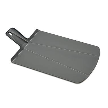 Joseph Joseph 60099 Chop2Pot Foldable Plastic Cutting Board 19-inch x 10.75-inch Chopping Board Kitchen Prep Mat with Non-Slip Feet 4-inch Handle Dishwasher Safe Lays Flat Folds Up, Large, Gray