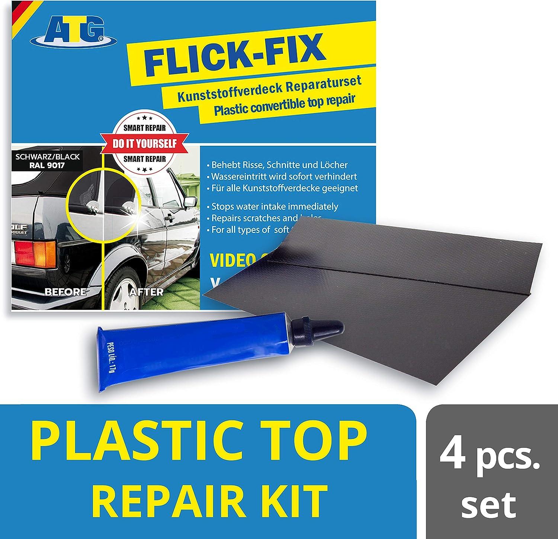 ATG Kit reparacion capotas cabrio cubierta piscina, Reparar lona toldo - Negro