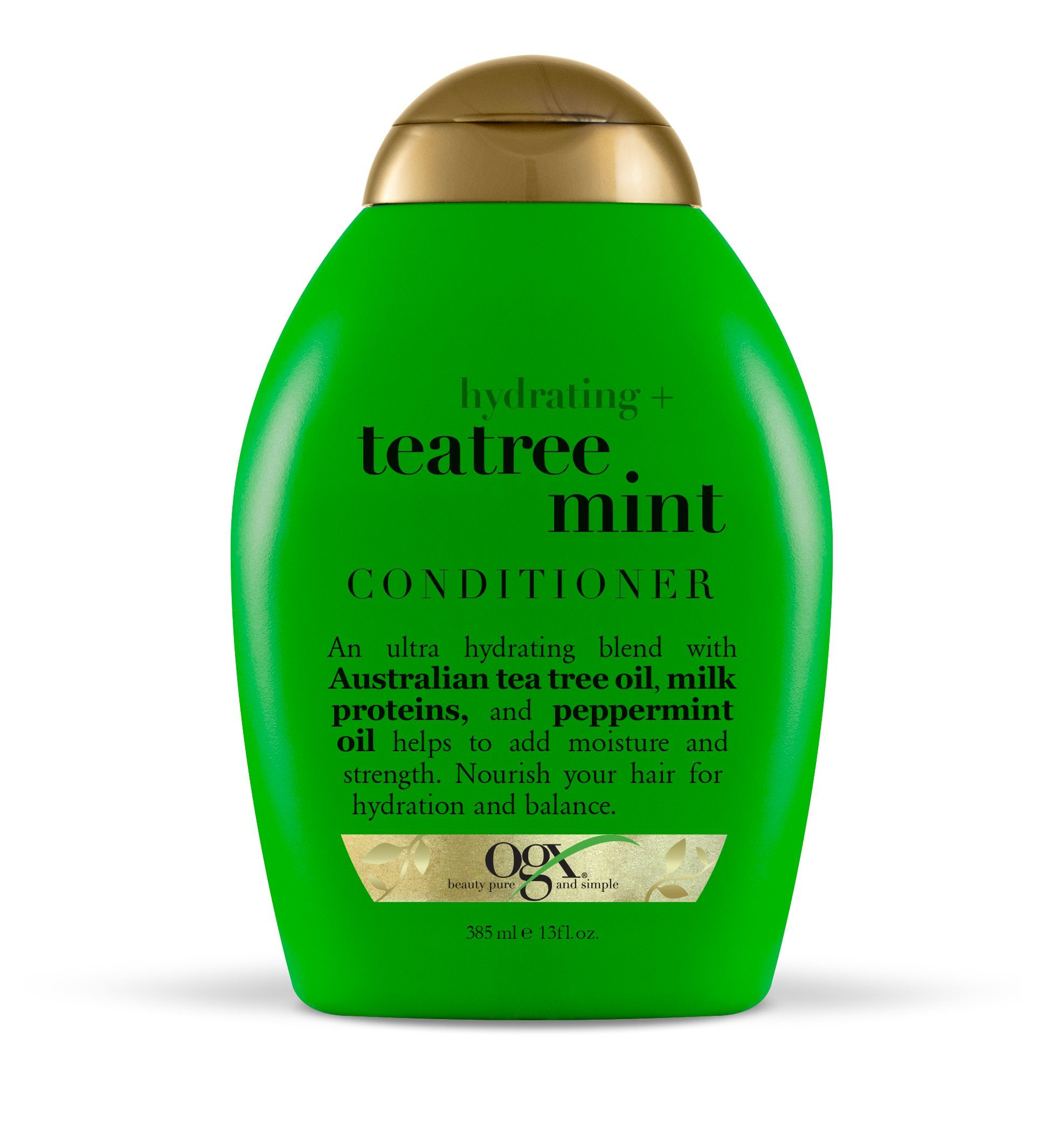 OGX Conditioner Hydrating TeaTree Mint (1) 13 Ounce Bottle Hydrating and Nourishing Conditioner with Australian Tea Tree Oils Paraben Free Sustainable Ingredients