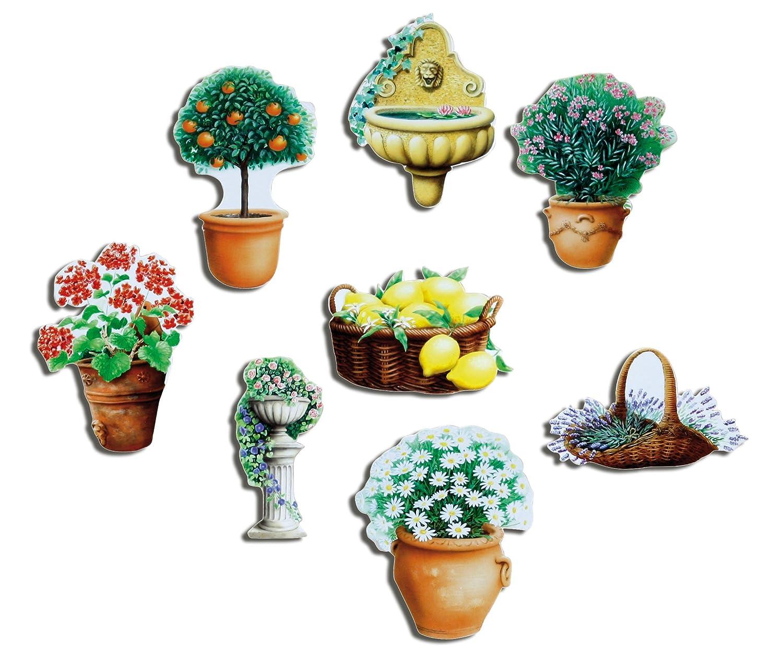 Guma Magneticum 2126fiori frigo magnete–set da vaso di fiori e piante mediterranee Magnet–Magnete con motivo per lavagna magnetica Lavagna Magnetica bacheca Memo Board Lavagna bianca