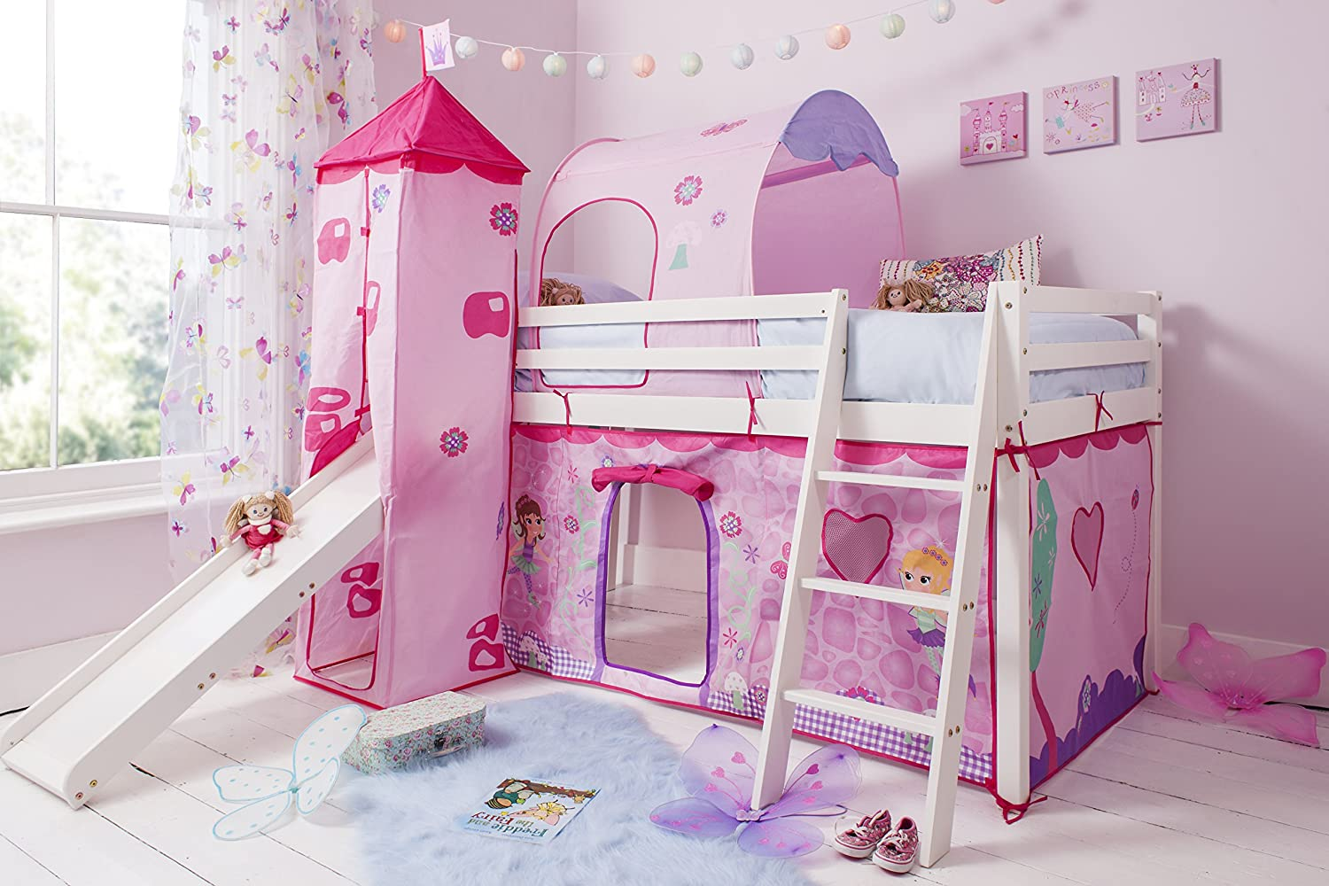 Cabin Bed Mid Sleeper in White with Fairy Tent Tower & Tunnel (70-WG-FAIRIES) Noa & Nani