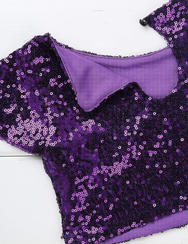 MSemis Crop Top Danza Lentejuelas para Ni/ñas Camisa Top Brillante Disfraz Sirena Blusa Cuello Redondo Ropa Traje Fiesta Actuaci/ón Baile
