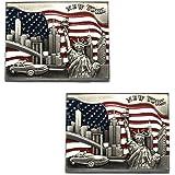 Rectangle US Flag New York Souvenir Fridge NY Magnet - US Flag,Statue of Liberty,Empire State Building,Brooklyn Bridge,NYC Magnet Metal (Pack 1)