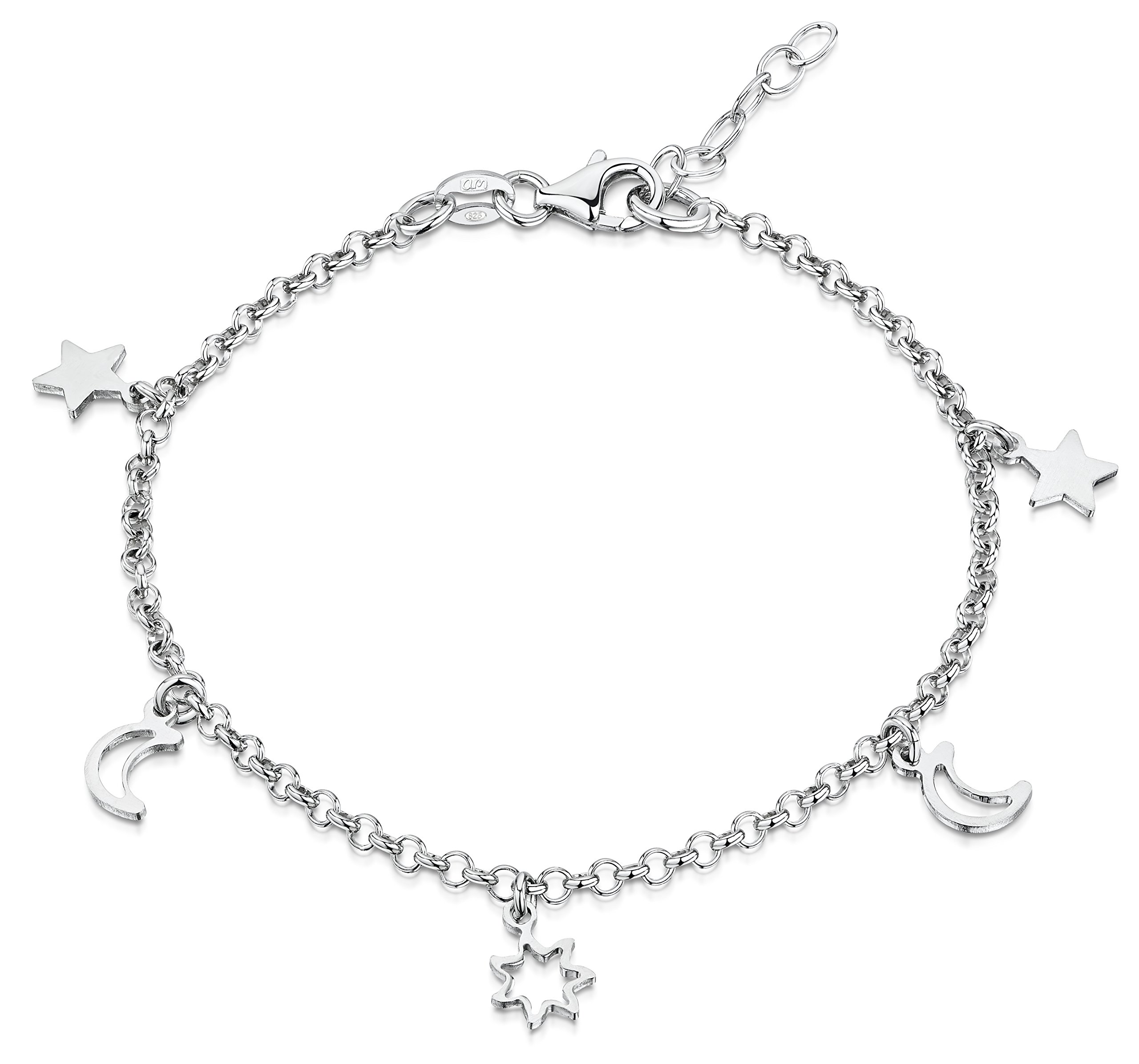 Amberta 925 Sterling Silver Adjustable Ankle Bracelet - 2.4 mm Rolo Chain Anklet with Stars and Moons - 9'' to 10'' inch - Flexible Fit