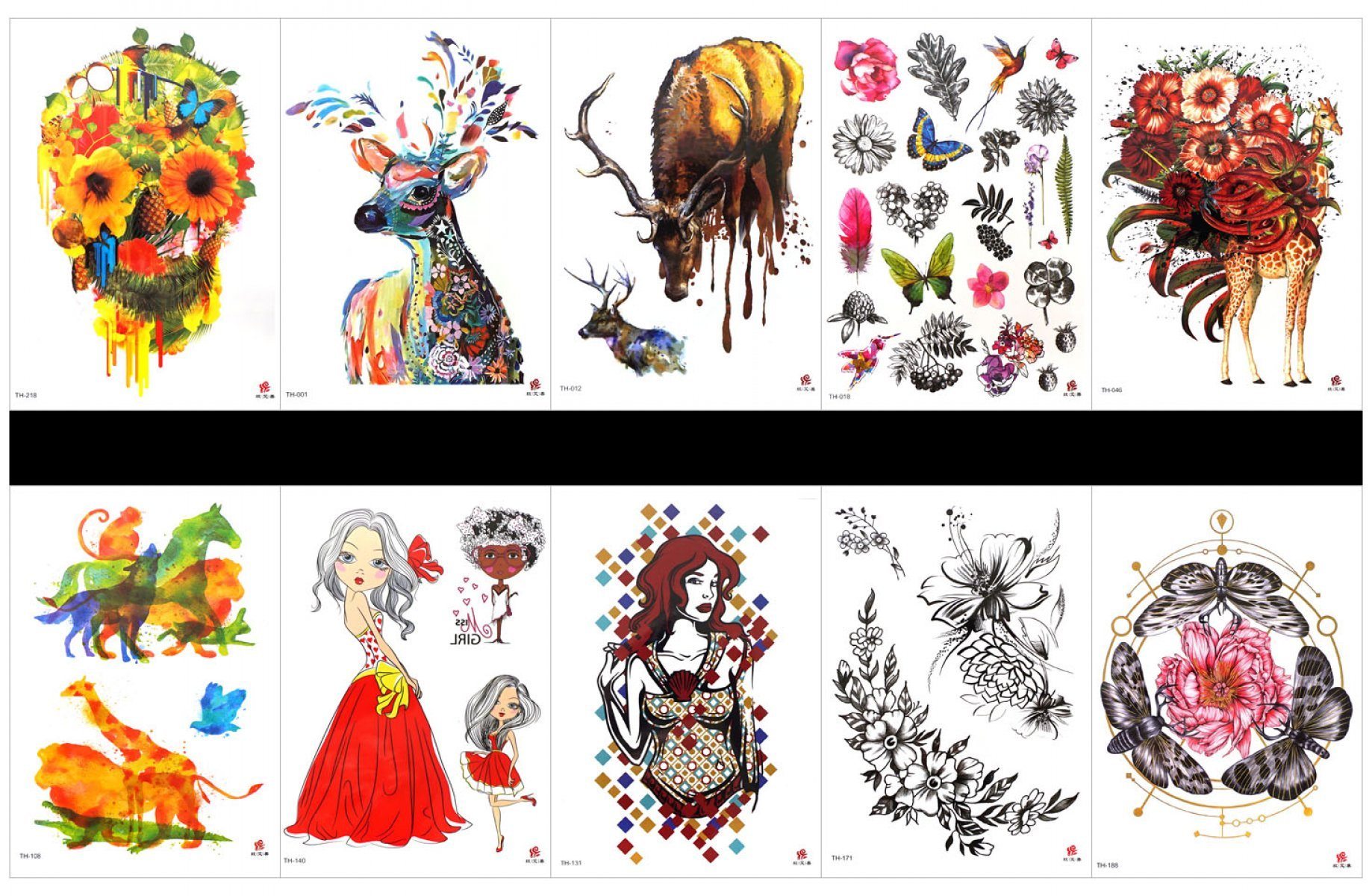 GGSELL GGSELL 10pcs tattoo deer temporary tattoos in one packages,including flowers and butterflies,deer,feather,leaves,giraffe with flowers,horse,monkey,dog,beautiful lady,flower with butterfly,etc.