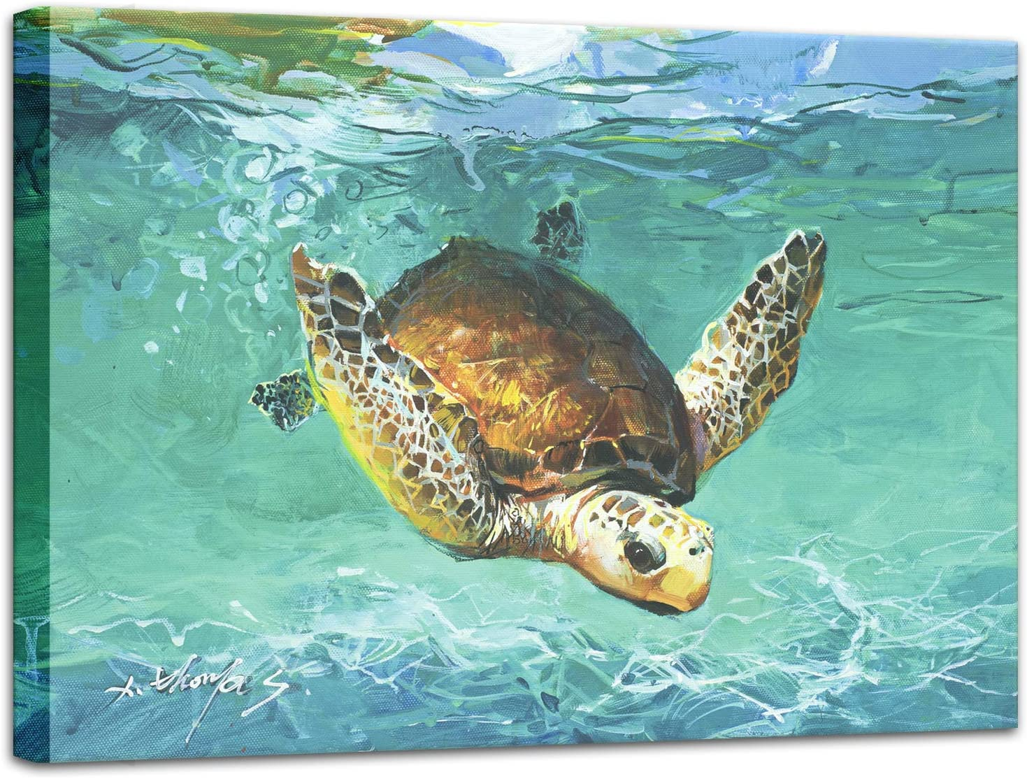 Beach Theme Bathroom Decor, 12x16 inch Sea Turtle Pictures Wall Art, Nautical Ocean Wall Decor Canvas Painting Prints, Gallery Wrapped Stretched