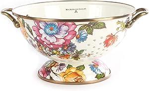 MacKenzie-Childs Flower Market Enamel Colander with Steel Underbody, Decorative Kitchen Sink Strainer, 1-Quart Drainer Bowl, White, Large