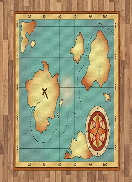 Navigation World Map.Amazon Com Ambesonne Island Map Area Rug Ancient Treasure World