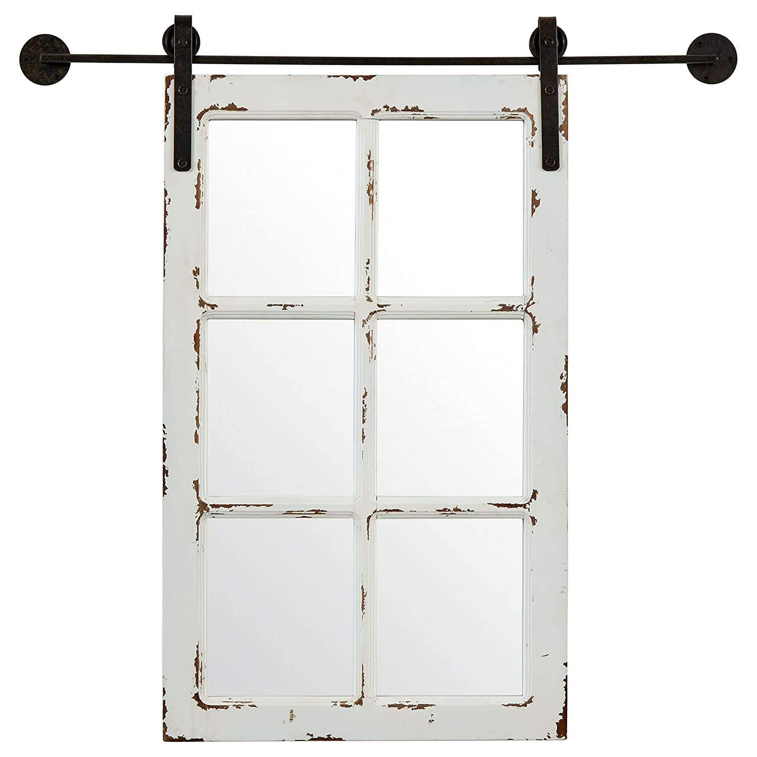"Stone & Beam Vintage-Look Sliding Window Mirror, 32.75""H, White"