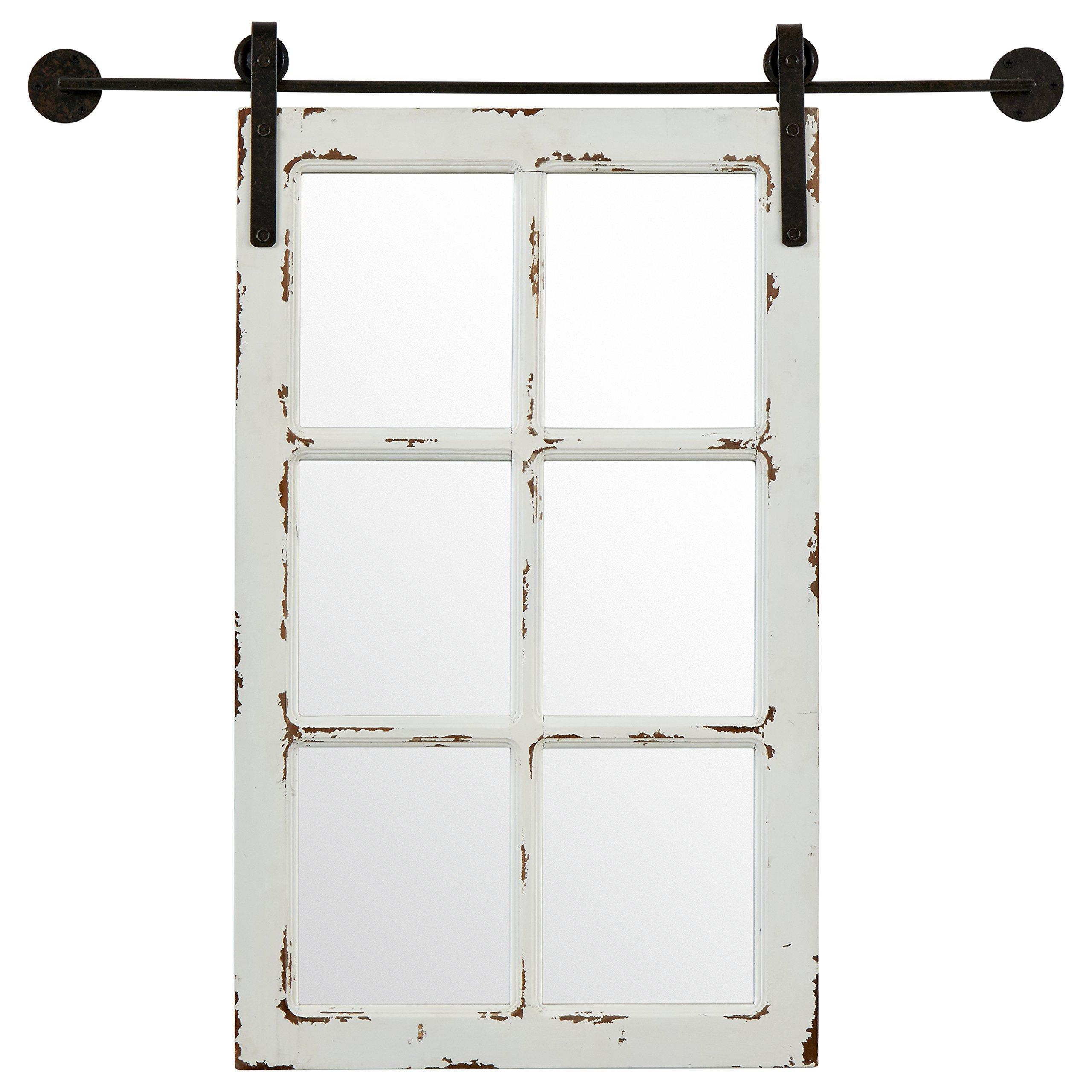 Stone & Beam Vintage-Look Rectangular Frame White Window Wood Mirror, 32.75 Inch Height, White by Stone & Beam