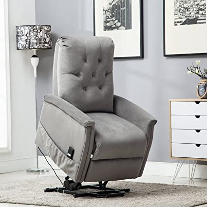 BONZY Lift Chair Tufted Power Lift Recliner   Light Gray