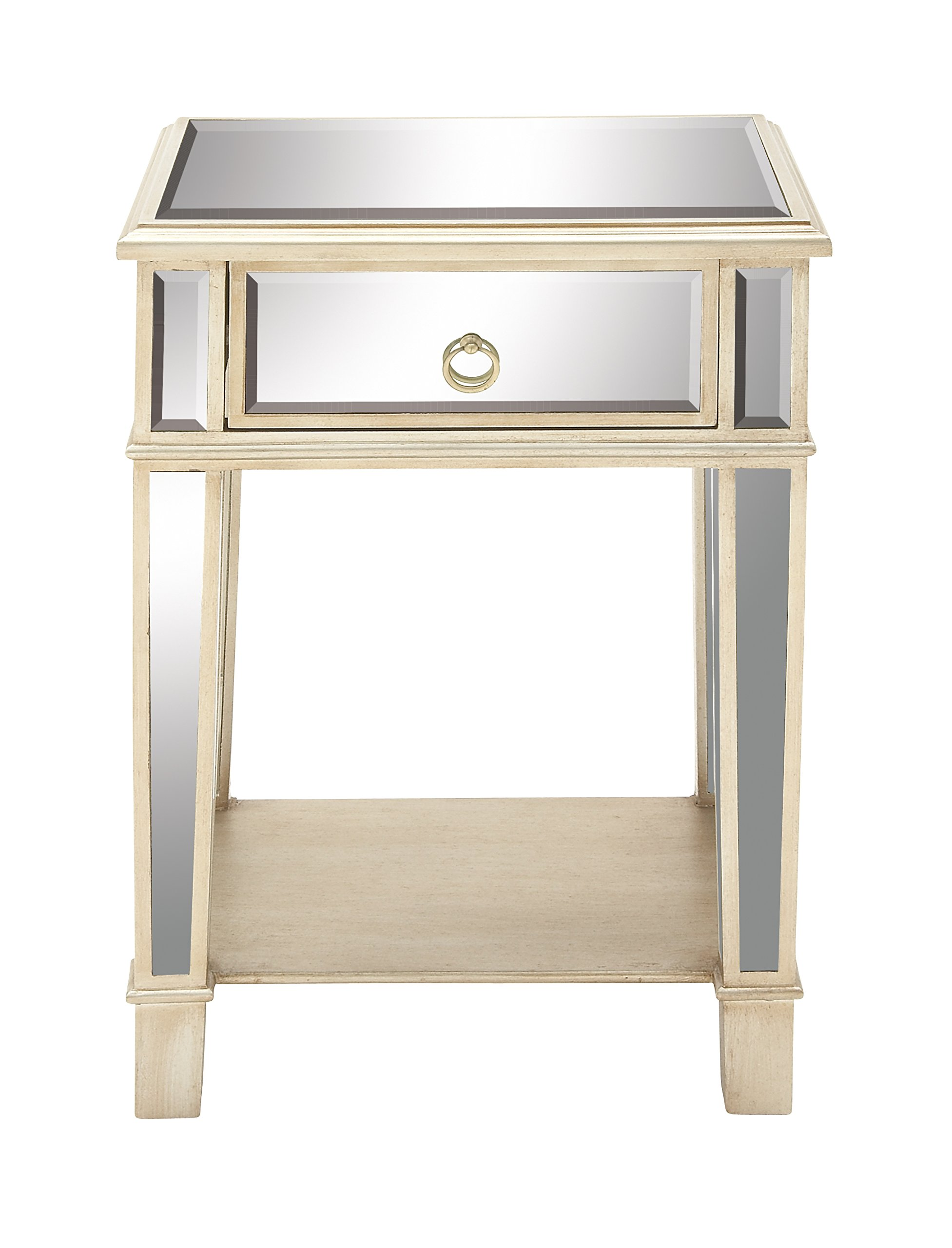 "Deco 79 56667 Wood Mir Side Table, 18"" x 27"" - Painted Wood and Beveled glass Fir and Medium density fiberboard and glass mirror Beige and reflective mirror - living-room-furniture, living-room, end-tables - 81VBBJtPVPL -"