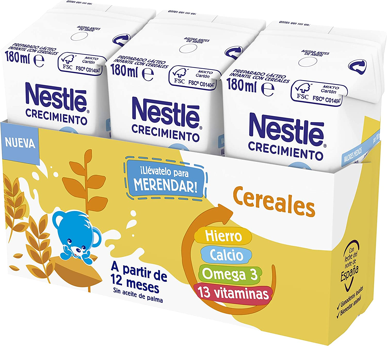 Nestlé Junior Junior Crecimiento 1 + Cereales A Partir De 1 Año - Pack de 8 x 3 bricks de 180 ml - Total: 24 bricks x 180 ml