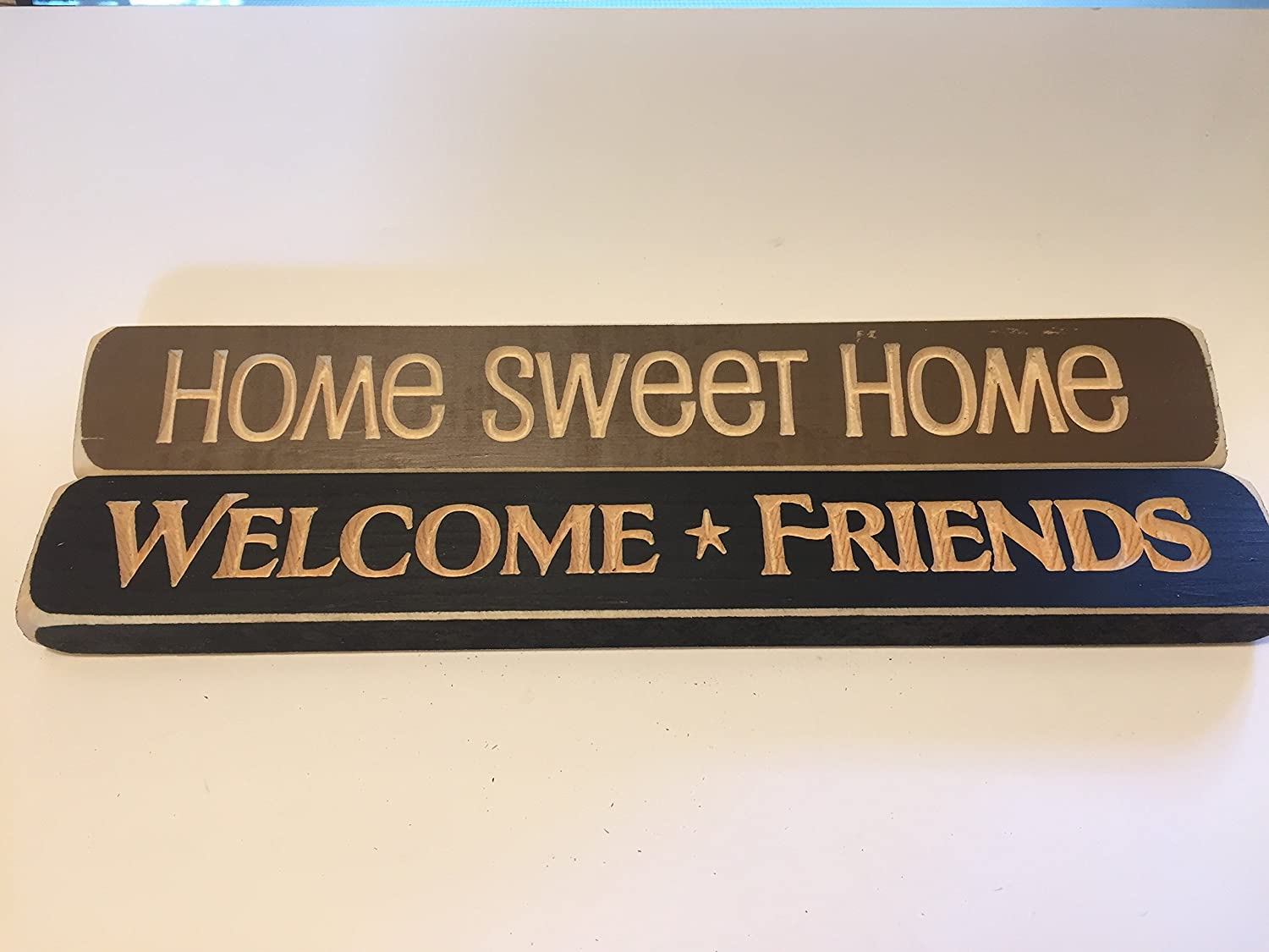 You Are The Difference LLC Inspirational Quote Decorative Engraved Wood Block Signs Home Sweet Welcome Friends Set Of 2 Made In USA 12 X 1