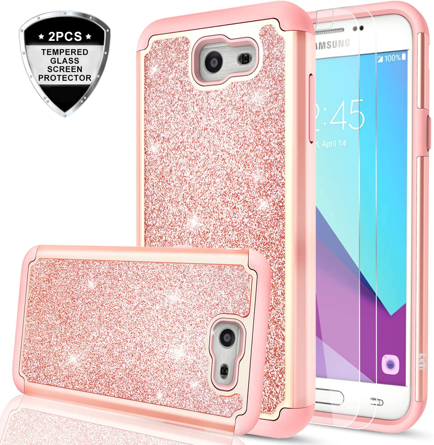 Galaxy J7 Prime Case,(Not fit J7 2018) J7 Sky Pro/J7 V/Halo/J7 Perx Glitter Case with Tempered Glass Screen Protector [2 Pack],LeYi Bling Hybrid Heavy Duty Phone Case for Samsung J7 2017 TP Rose Gold