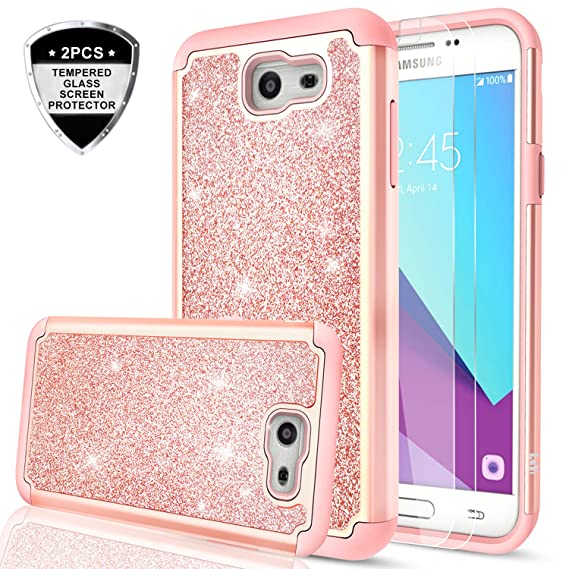 pretty nice e325c 2433a Galaxy J7 Prime Case,(Not fit J7 2018) J7 Sky Pro/J7 V/Halo/J7 Perx Glitter  Case with Tempered Glass Screen Protector [2 Pack],LeYi Bling Hybrid Heavy  ...