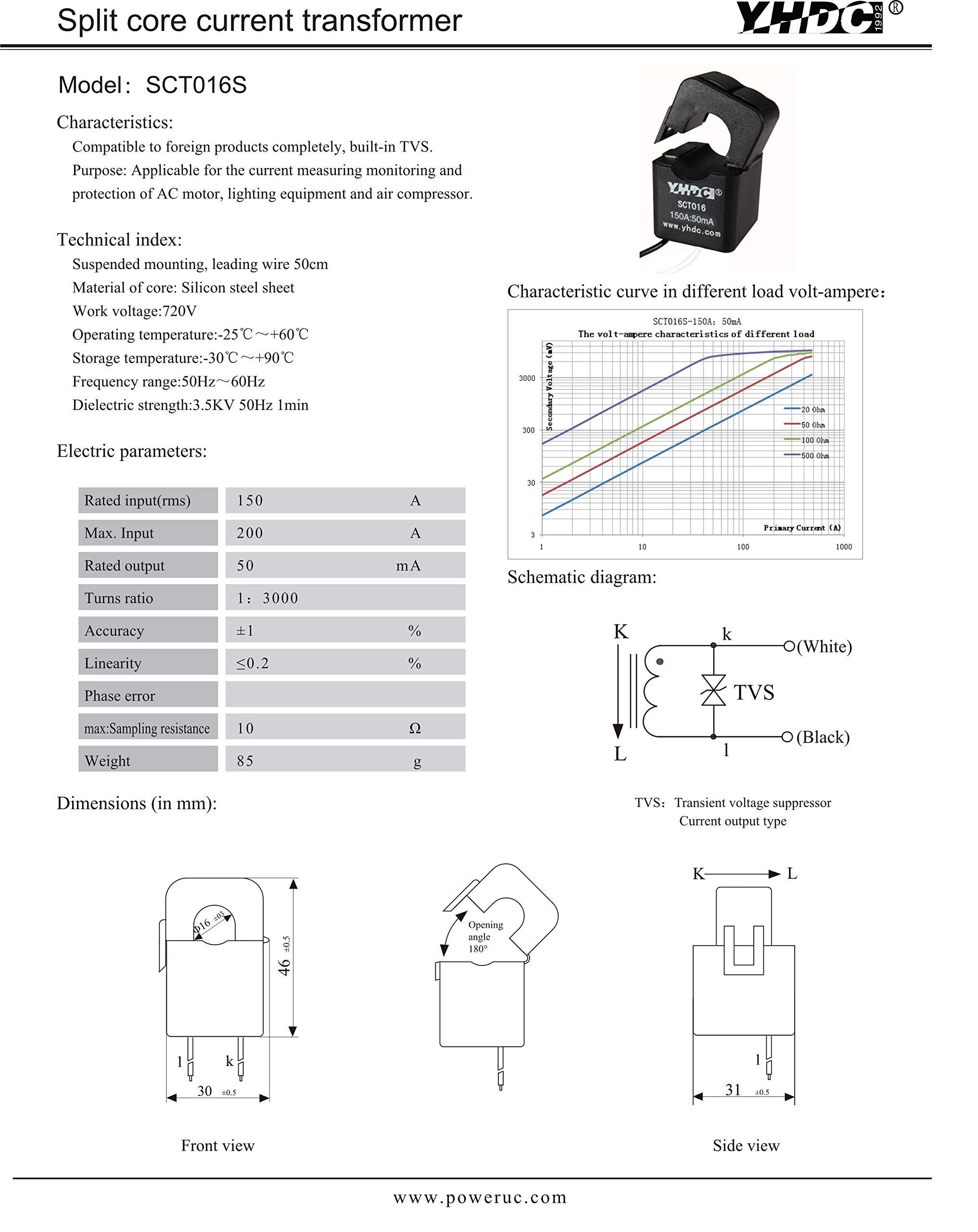 YHDC Split core Current Transformer SCT13050QT 2000A//5A