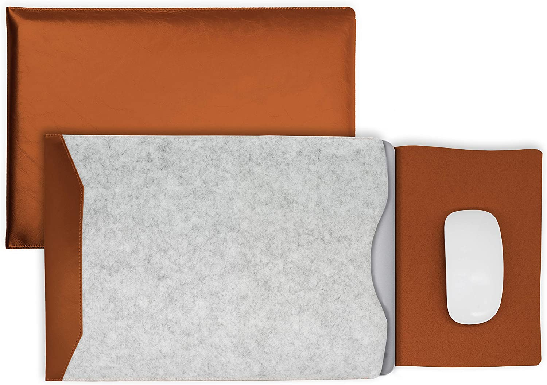 Ros/é MyGadget 13-13,3 Zoll Laptop H/ülle Filz /& PU Leder Sleeve Slim Case Schutzh/ülle Apple MacBook Air//Pro Kunstleder Mauspad Tasche f/ür u.a